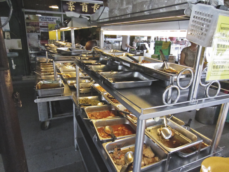 The buffet at Evergreen vegetarian restaurant in Georgetown (Penang, Malaysia)