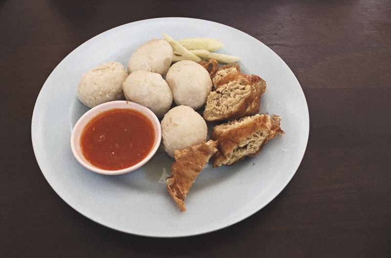 Vegan chicken rice balls at Shui Xian in Malacca (Melaka), Malaysia