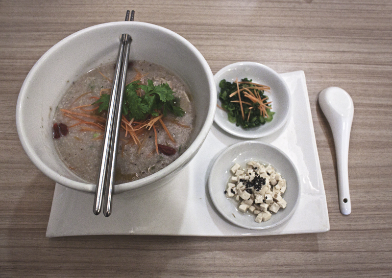 Rice porridge at Veggie Planet in Malacca (Malaka), Malaysia