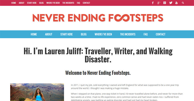 Lauren Juliff from Never Ending Footsteps