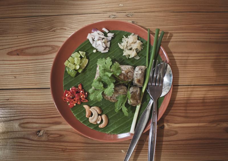 nam hed song kreung, vegan thai sausage from Pun Pun in Chiang Mai, Thailand