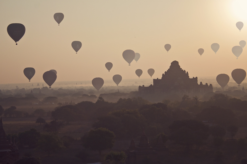 Hot air balloons at sunrise in Bagan, Myanmar (Burma)