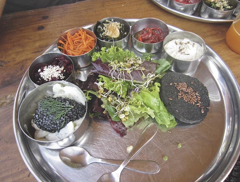 Shantaram raw vegan restaurant in Arambol, Goa, India.