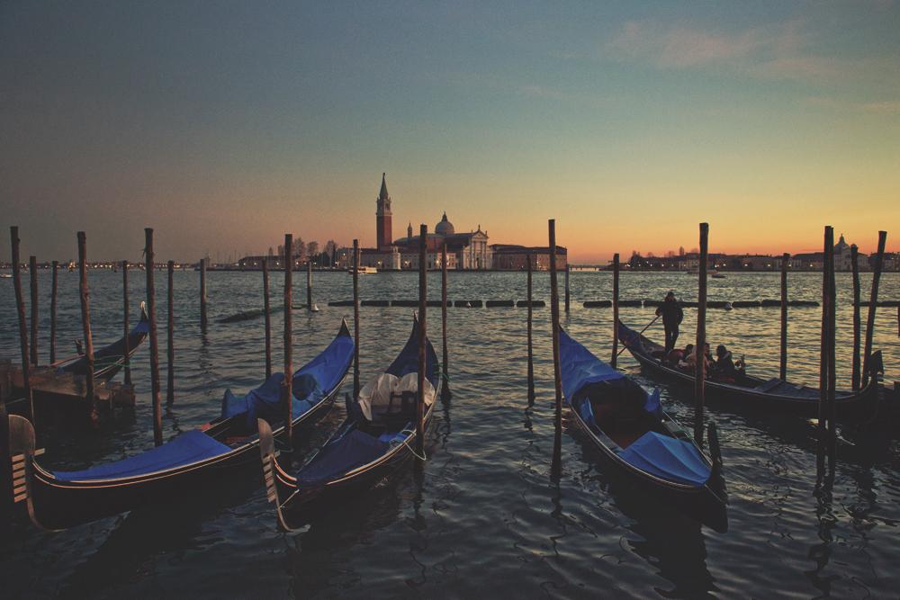 riverfront gondolas venice italy