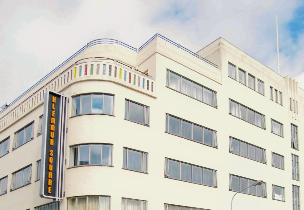 hlemmur square facade art deco building reykjavik iceland