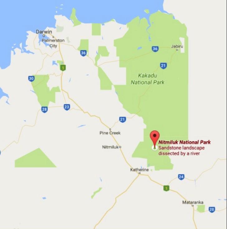 Nitmiluk National Park Map Photo Credit: Google Maps