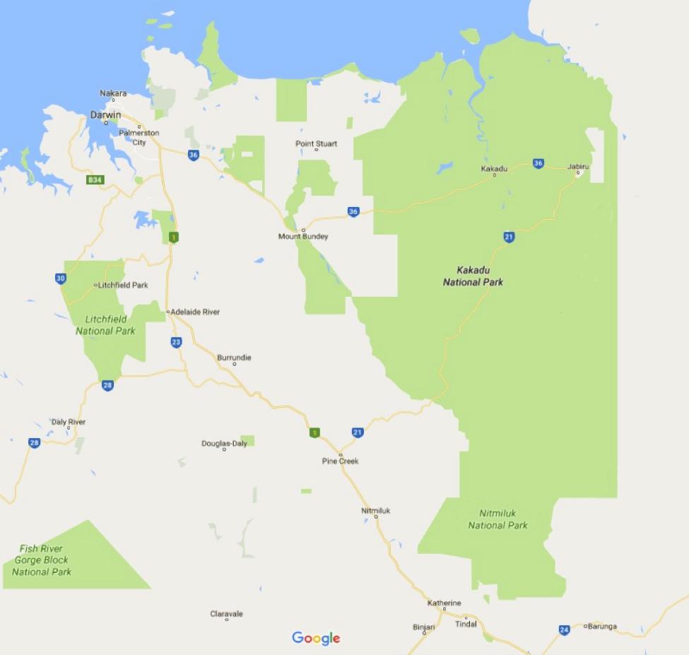 Kakadu National Park Map Photo Credit: Google Maps